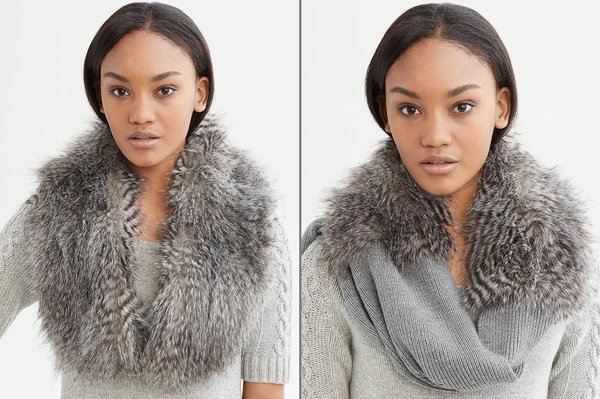 Banana Republic's Anna Karenina line offers the faux-fur Sonia stole, left, and the Jules faux-fur scarf, right.