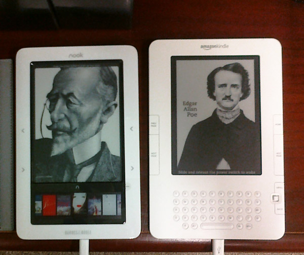 Two e-readers (image courtesy of Bobbi Newman, via Flickr)