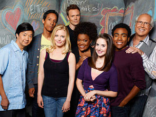 The cast of the troubled *Community*. Showrunner Dan Harmon has just been fired from the show he created, wrote, produced and directed.