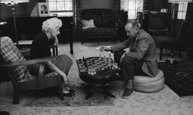 Nabokov playing chess.