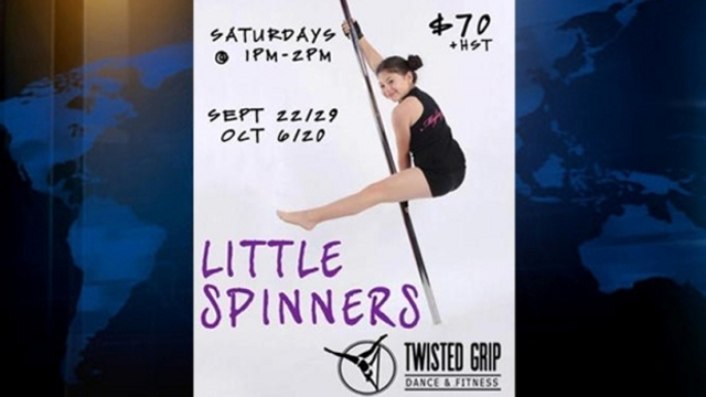 An advertisement for 'Little Spinners' pole dance classes for girls.