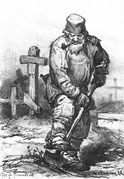 1871 illustration of a Russian grave-digger by Viktor Vasnetsov [1848-1926] from the Tretyakov Gallery, Moscow, via WikiCommons