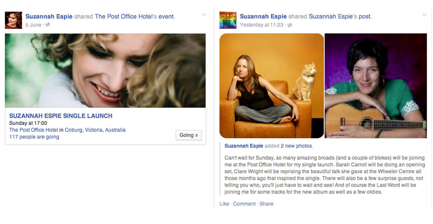Outcome: Suzannah Espie posts the single launch event to her Facebook timeline
