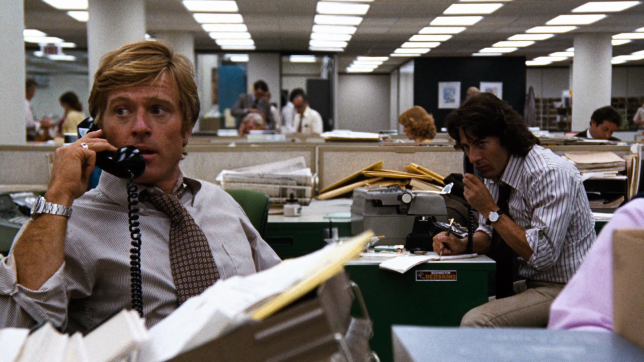 Robert Redford and Dustin Hoffman as Washington Post investigative journalists Bob Woodward and Carl Bernstein in *All the President's Men*.
