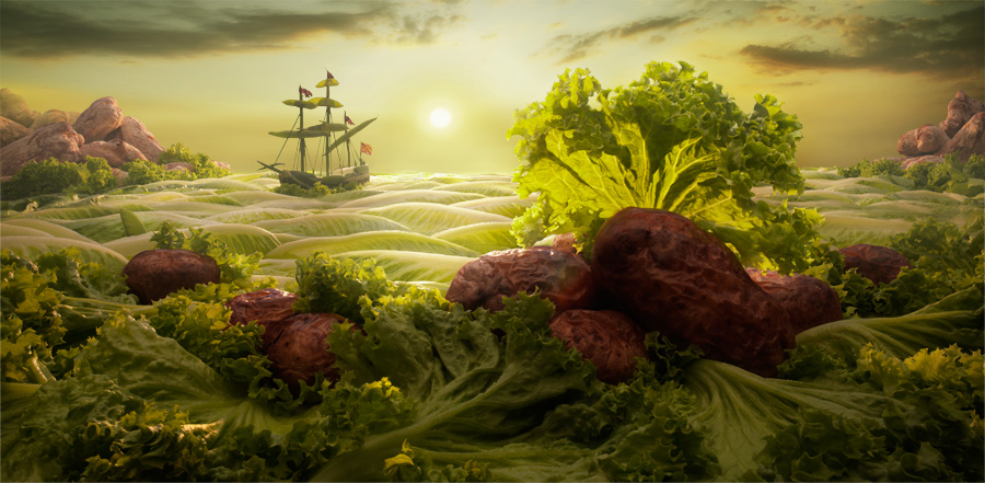 Lettuce Seascape by Carl Warner (from the series *Foodscapes*).