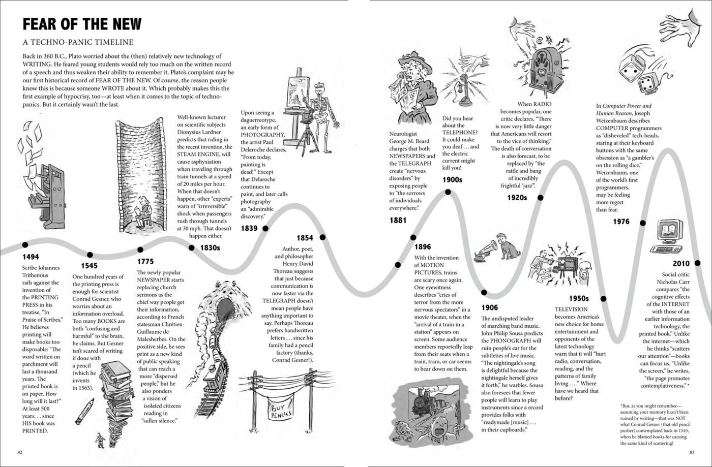 Chart: A timeline of fear, from Bad For You by Kevin C. Pyle and Scott Cunningham