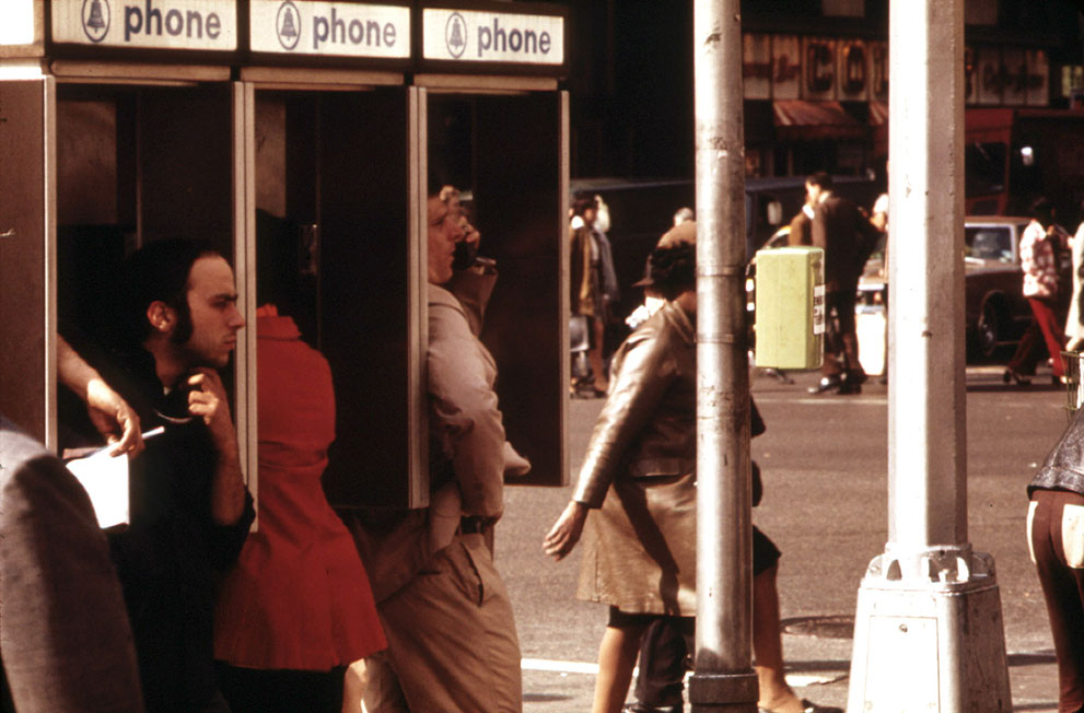 Brooklyn payphones, in 1974. This photo was taken a month before the first mobile phone call was placed.