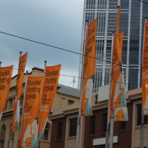 Photo of early Wheeler Centre banners announcing that we would be 'Opening February'