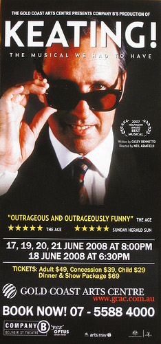 Poster of a Queensland production of the Casey Bennetto musical, *Keating!*, via Jiggs Images/Flickr