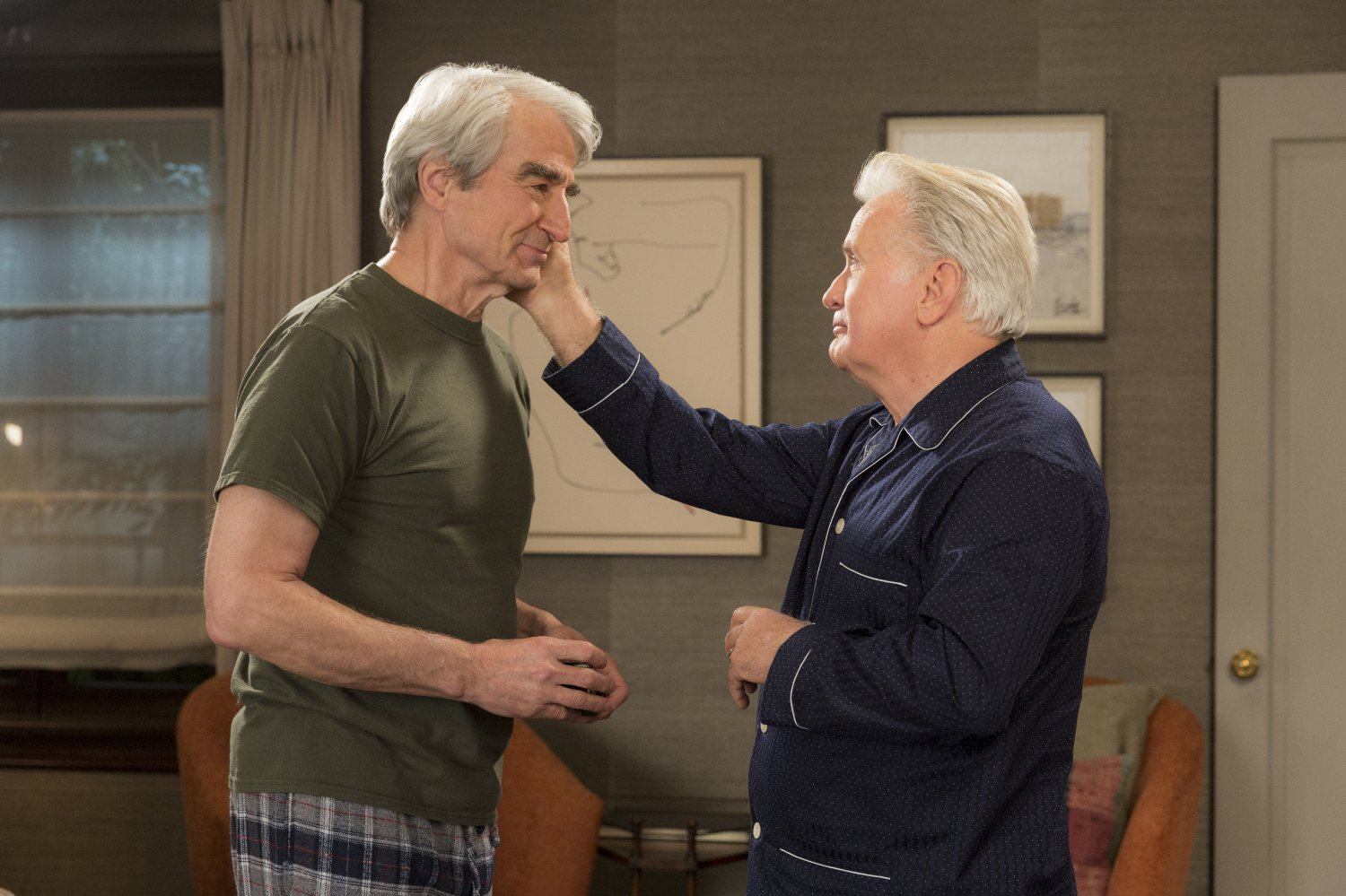 Still image of actors Martin Sheen and Sam Waterston from the TV show Grace and Frankie