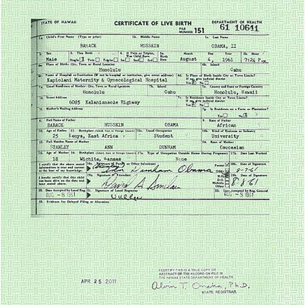 Detail of Barack Obama's long-form birth certificate, released last week