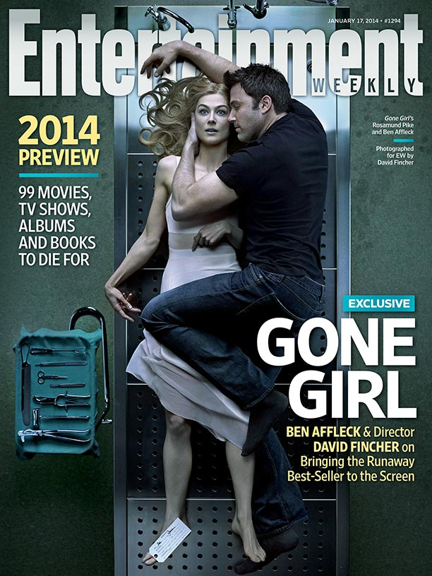 David Fincher directed this cover image of Ben Affleck and Rosamund Pike in character as Nick and Amy.