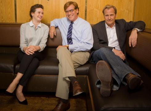 Aaron Sorkin with *The Newsroom* stars Emily Mortimer and Jeff Daniels.