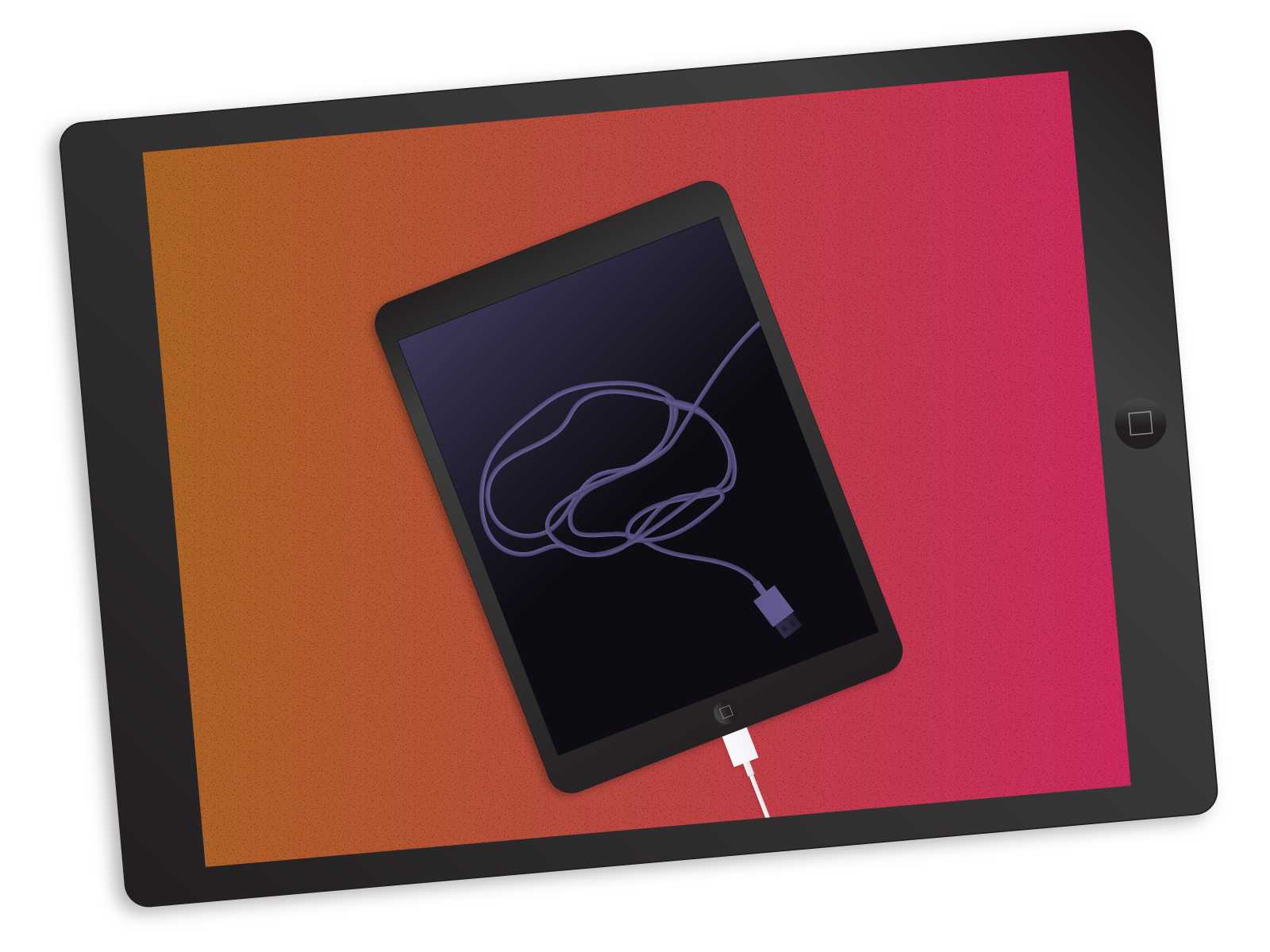 Illustration: An iPad cable is coiled to resemble a human brain