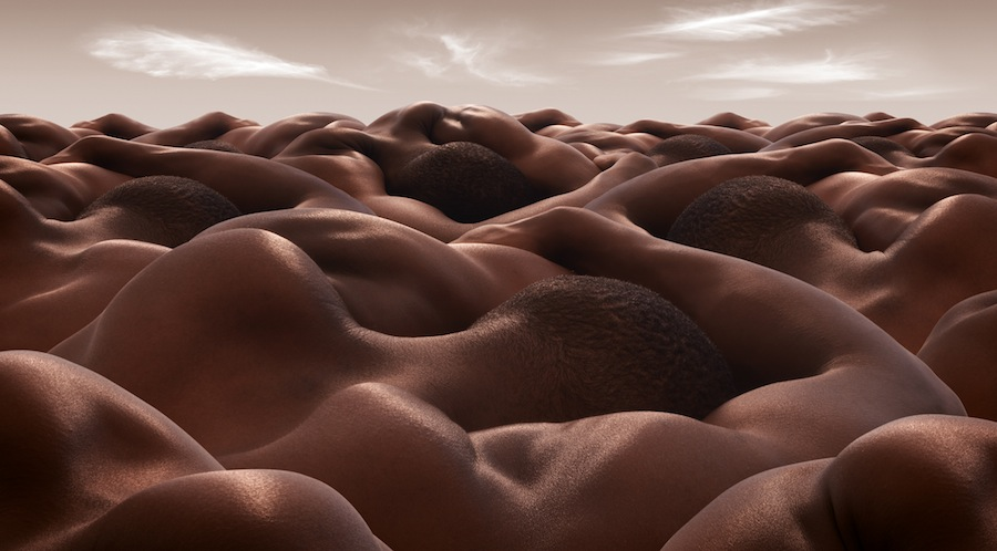 Desert of Sleeping Men by Carl Warner (from the series *Bodyscapes*).