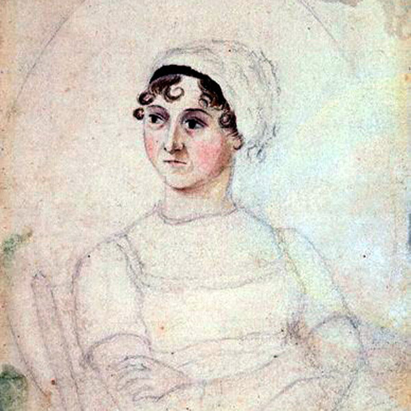 A portrait of Jane Austen sketched circa 1810 by her sister Cassandra at the National Portrait Gallery, London, via WikiCommons