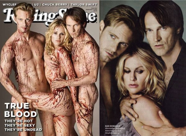 The *True Blood* love triangle, pictured in *Rolling Stone*.