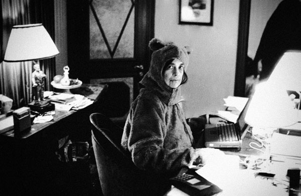 Susan Sontag, writing in a bear suit. This is not an accurate depiction of a typical Wheeler Centre hot desk.