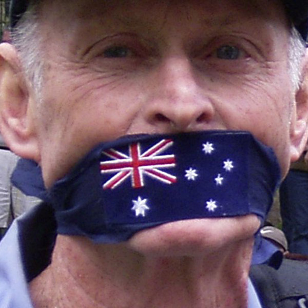 Image of an anti-war protester in Sydney, 2005, via WikiCommons