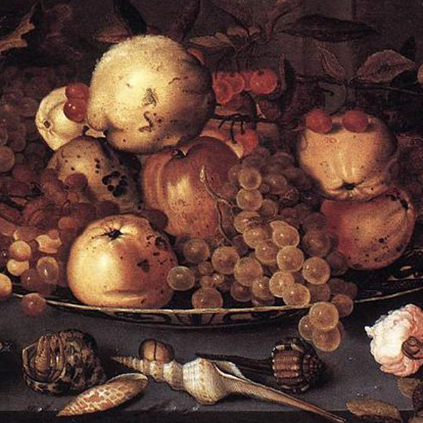 Still Life with Dish of Fruit, by Balthasar van der Ast, Staatliche Museum, Berlin, via WikiCommons