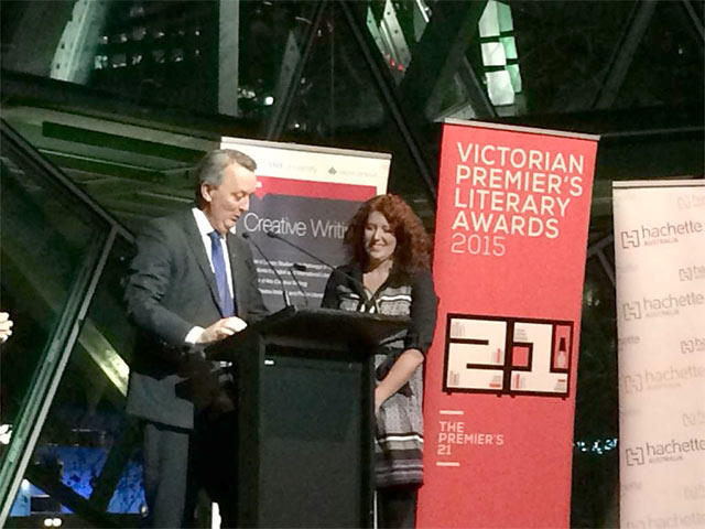 Image: Minister for Creative Industries Martin Foley presents the award to Jane Harper