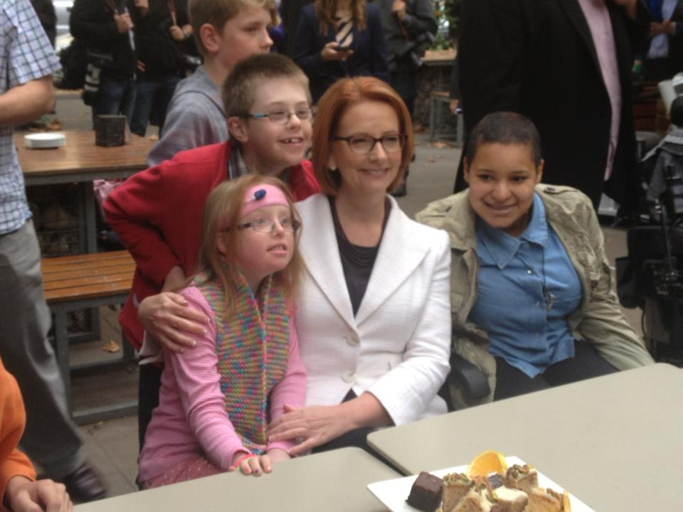 Joel Deane's daughter Sophie, at left, with prime minister Julia Gillard last week.