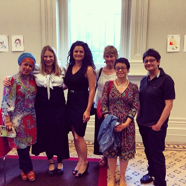 In the green room before the *Coming of Age* event. From left: Tasneem Chopra, Amra Pajalic, Demet Divaroren, and, at far right, Alyena Mohummadally.