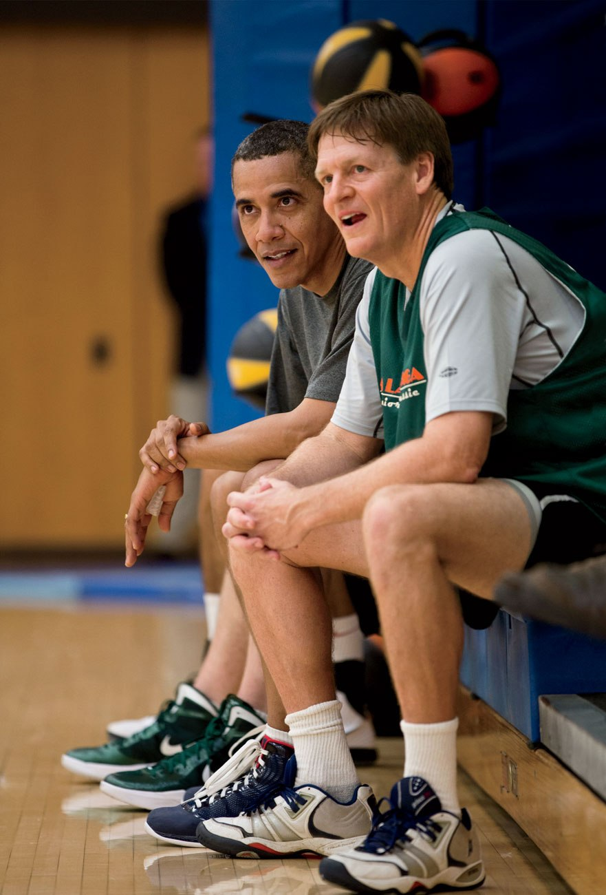 President Obama and Michael Lewis break from playing basketball; a photo from the *Vanity Fair* article.