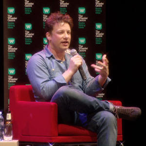 Photograph of Jamie Oliver at the Regent Theatre in 2012