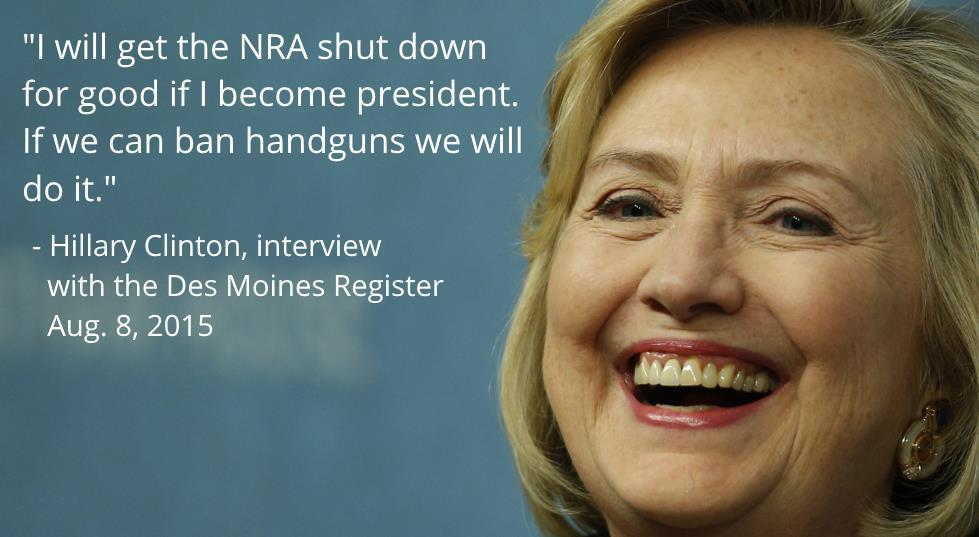 Image of former presidential candidate Hillary Clinton and a fabricated quote about the National Rifle Association.