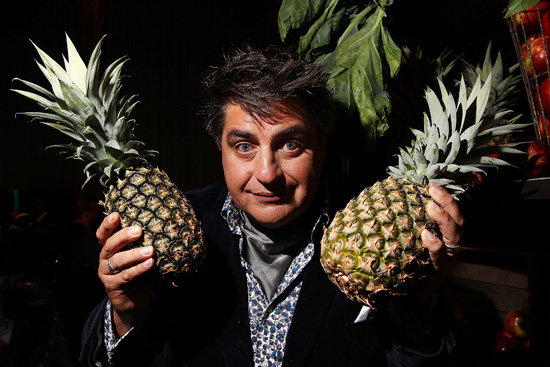 *Masterchef*'s Matt Preston, inexplicably mugging with pineapples. The show is ripe for good-humoured satire.