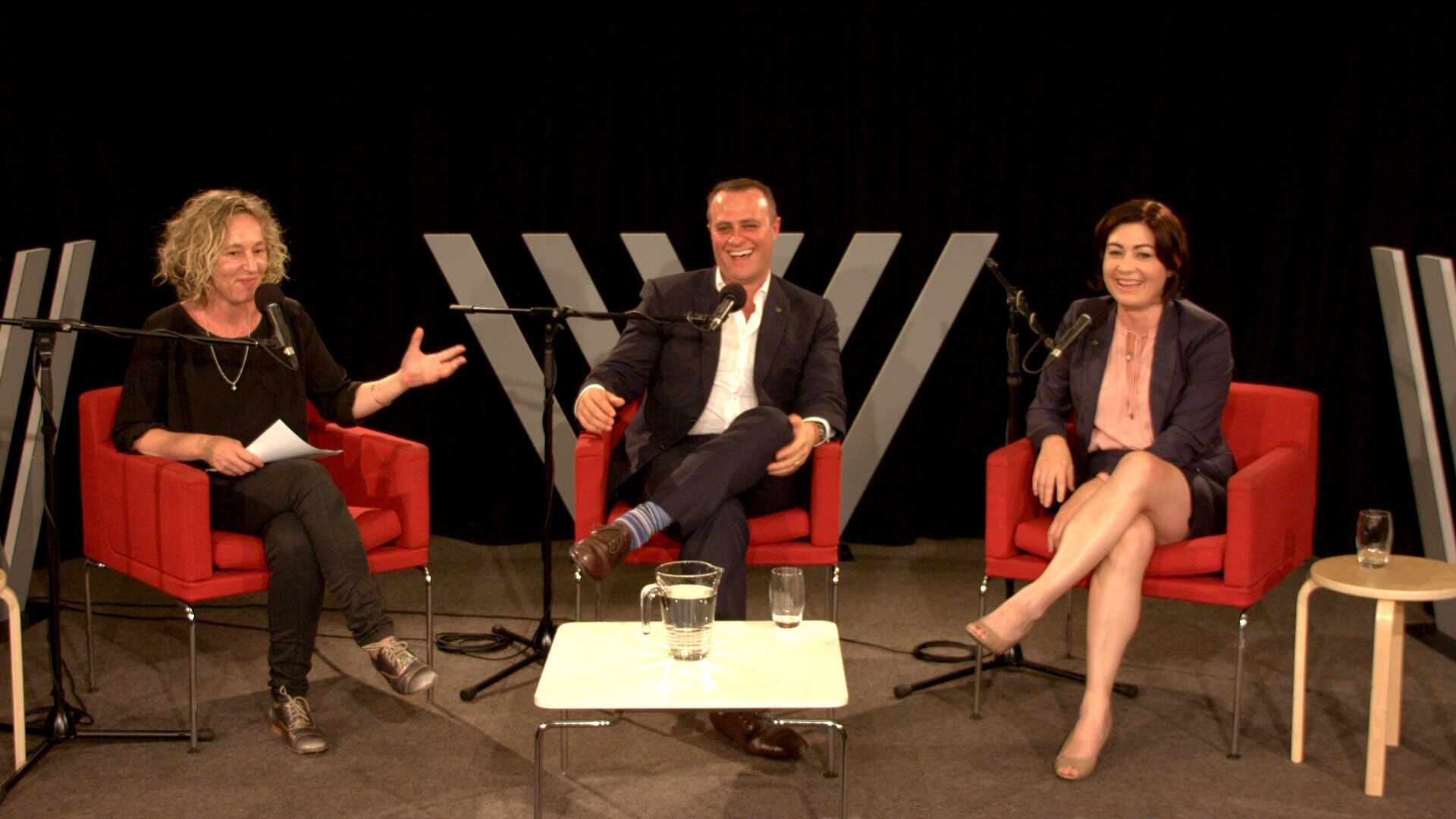 Sally Warhaft, Tim Wilson and Terri Butler