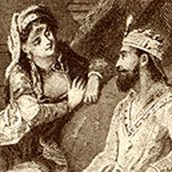 Depiction of Queen Scheherazade telling her stories to King Shahryar in *The Arabian Nights*, via WikiCommons