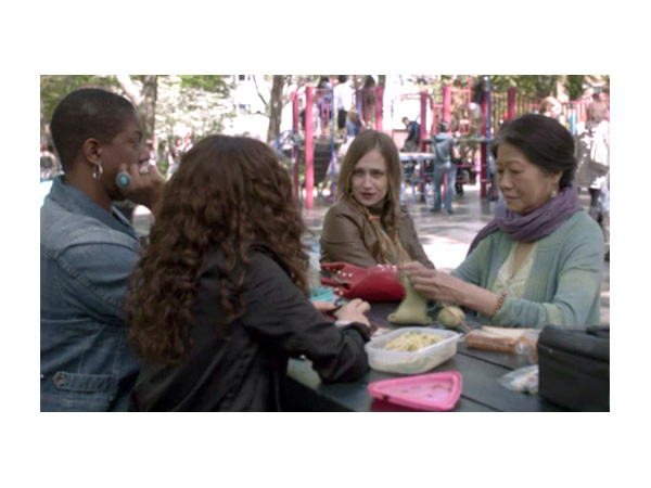The scene from *Girls* with the 'rainbow group of nannies with accents'.